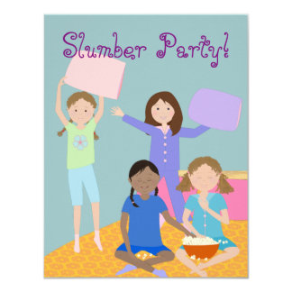 "Girls Slumber Party 4.25"" X 5.5"" Invitation Card"