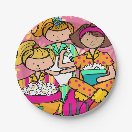 Girls Slumber Party Birthday Paper Plate