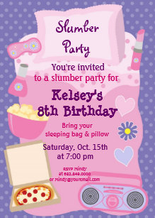 Girls Slumber Party Sleepover Pajama Invitation