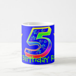 Girl's Smiley Stars 5th Birthday Mug