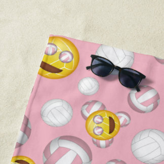 girl's smiley volleyball emoji pattern any color beach towel