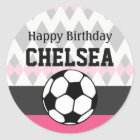 Girl's Soccer Party Custom Birthday Classic Round Sticker