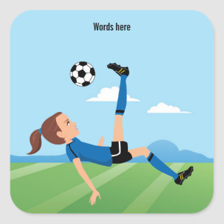 Girl's Soccer Player 3 inch Square Sticker