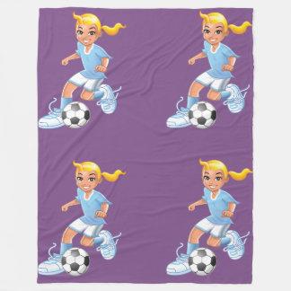 Girls soccer player fleece blanket