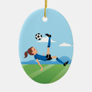 Girl's Soccer Player Personalized Ceramic Oval Ornament