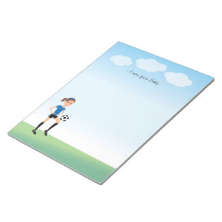 Girl's Soccer Player Personalized Notepads