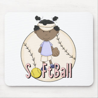 Girls Softball African American t-shirts and Gifts Mouse Pad
