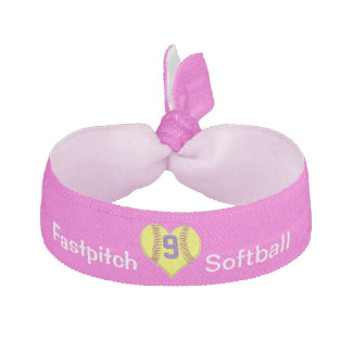 Girls Softball Hair Accessories with JERSEY NUMBER Hair Tie