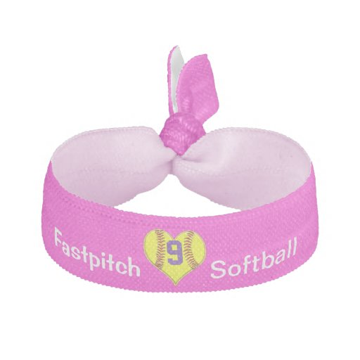 Girls Softball Hair Accessories with JERSEY NUMBER Ribbon Hair Ties