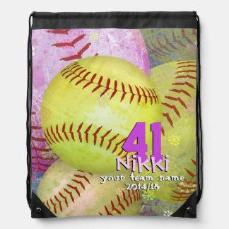 Girls Softball Pink Yellow Abstract Girly Drawstring Bag