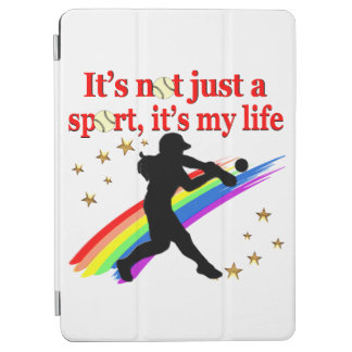 GIRLS SOFTBALL RED RAINBOW INSPIRATIONAL DESIGN iPad AIR COVER