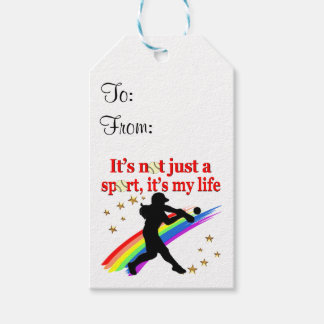 GIRLS SOFTBALL RED RAINBOW INSPIRATIONAL DESIGN PACK OF GIFT TAGS