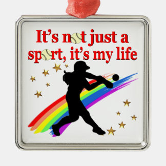 GIRLS SOFTBALL RED RAINBOW INSPIRATIONAL DESIGN Silver-Colored SQUARE ORNAMENT