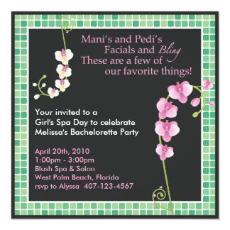 "Girl's Spa Day! 5.25"" Square Invitation Card"
