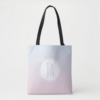 Girl's Stylish Monogram Initials Simple Ombre Tote Bag