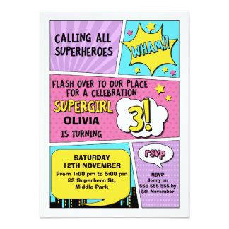 Girls Superhero 3rd Birthday Invitation
