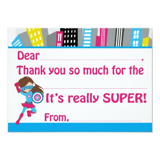 Girls Superhero Birthday Fill in Thank You Cards