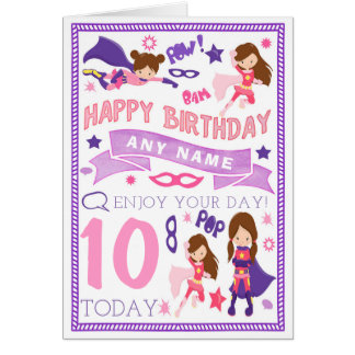 Girls Superhero Personalised Birthday Card