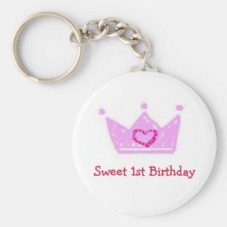 Girl's Sweet 1st Birthday Key Chain
