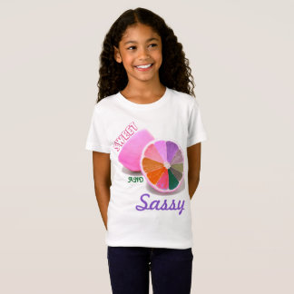 Girl's Sweet and Sassy White Jersey T-Shirt