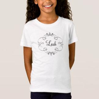Girls T Shirt Fancy Scroll Design Girls Name