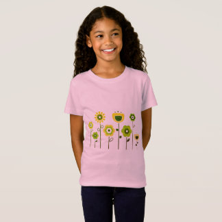 Girls t-shirt pink with green flowers