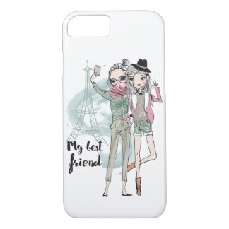 Girls taking selfie in Paris Apple iPhone 7 case