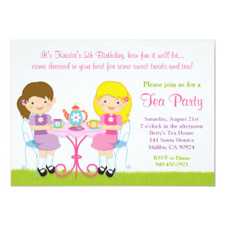 "Girls Tea Party Birthday Party Invitation 5"" X 7"" Invitation Card"