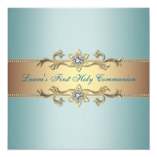 """Girls Teal Blue First Communion 5.25"""" Square Invitation Card"""