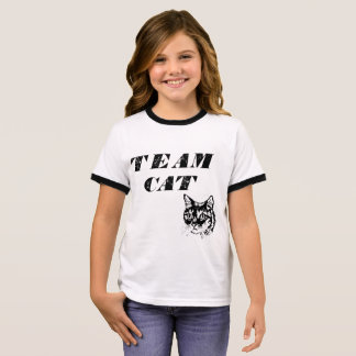 Girl's Team Cat by Mini Brothers Ringer T-Shirt