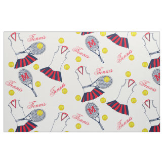 Girls Tennis Racket and Balls Monogram Fabric