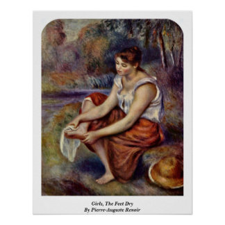 Girls, The Feet Dry By Pierre-Auguste Renoir Poster