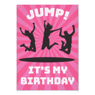 Girl's Trampoline Bounce House Birthday Party Card