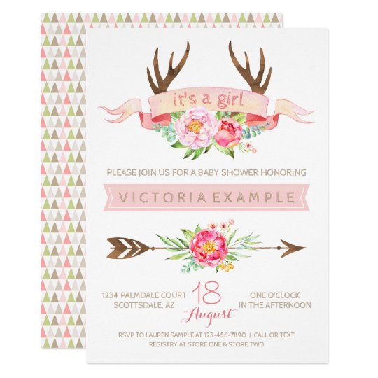 Girls Tribal Antler Floral Baby Shower Invitations