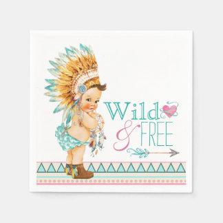 Girls Tribal Baby Shower Paper Napkin