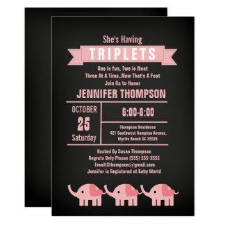 Girls Triplet Elephant Baby Shower Chalkboard Card