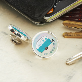 Girl's Trucker Hat Pin with Retro Vintage Camper