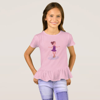 Girls tshirt pink with Ice skating girl