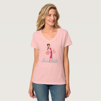 Girls tshirt pink with shopping lady