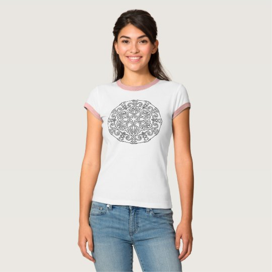 GIRLS tshirt white with mandala art