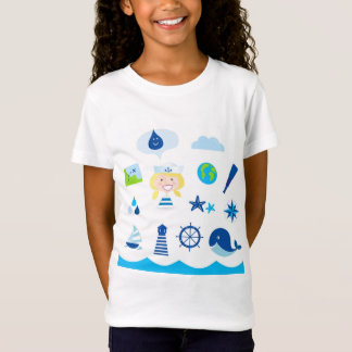 Girls tshirt with Navy icons
