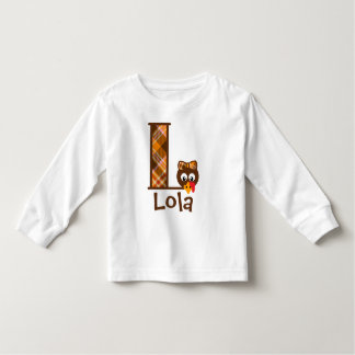 Girls Turkey Shirt Thanksgiving Monogram Letter L