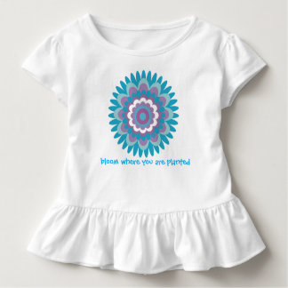 Girls turquoise dahlia print toddler t-shirt