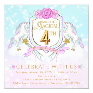 Girls Unicorn 4th Birthday Party Invitations