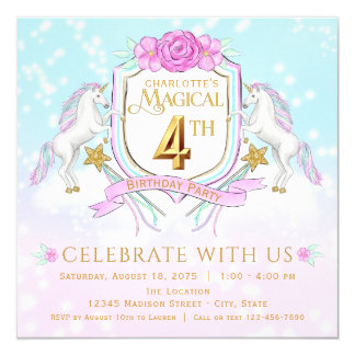 Girls Unicorn 4th Birthday Party Invitations
