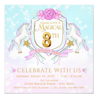 Girls Unicorn 8th Birthday Party Invitations