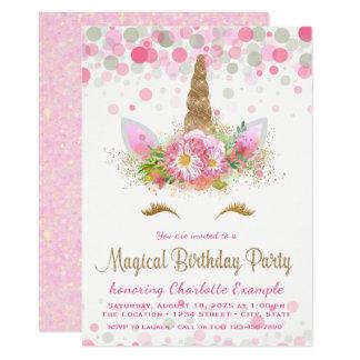 Girls Unicorn Face Birthday Party Invitations
