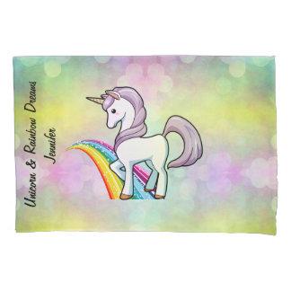 Girl's Unicorn & Rainbow Dreams Custom Name Pillowcase