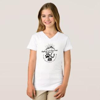 Girls V-Neck Vintage Hoofbeats and Pawprints Tee