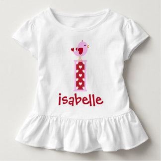 Girl's Valentine's Day Bird Ruffle Shirt Initial i